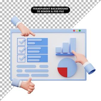 3d иллюстрации отчета об анализе данных