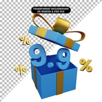 3d иллюстрации скидки 9 9 на подарочной коробке