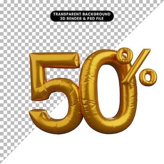 3d иллюстрации дисконтный шар цифра текст концепции золотой 50%