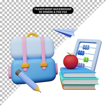学校に戻る教育の3dイラスト