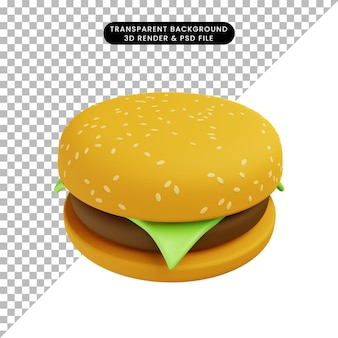 3d иллюстрации еды гамбургер Premium Psd