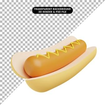 3d иллюстрации еды хот-дог