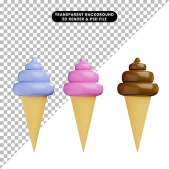 3d иллюстрации пищевого мороженого