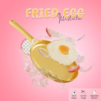 소셜 미디어 요소를 위해 야채와 스플래시와 함께 팬에 날아가는 계란 프라이의 3d 그림