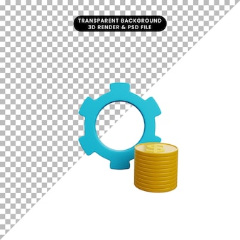 3d иллюстрации значка шестеренки с монетой