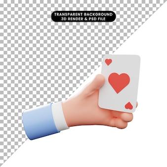 제스처 손 잡고 카드의 3d 그림
