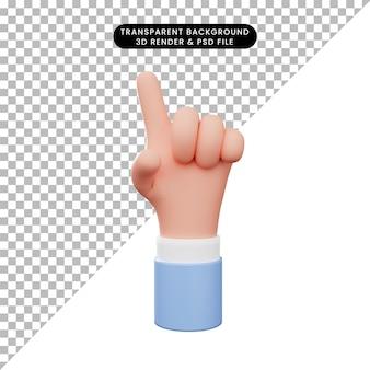 제스처 손 하나 또는 가리키는의 3d 일러스트