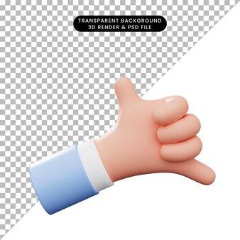 3d иллюстрации жест рукой телефон жест