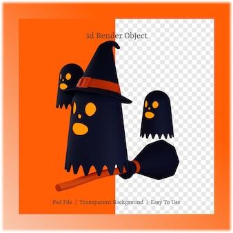 할로윈 데이 컨셉의 유령과 빗자루의 3d 그림