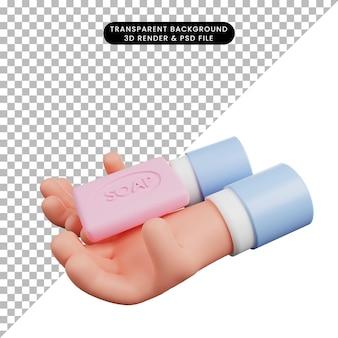 3d иллюстрация всемирного дня мытья рук с 3d рукой