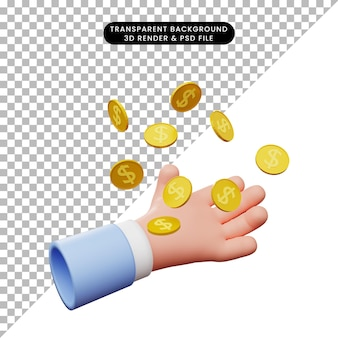 손 캐치 동전 달러의 3d 일러스트