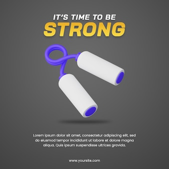 スポーツイラストに役立つハンドグリッパーソーシャルメディア投稿デザインテンプレートの3dイラスト