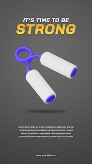 スポーツイラストソーシャルメディアストーリーデザインテンプレートに役立つハンドグリッパーの3dイラスト