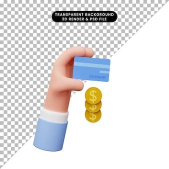 신용 카드와 동전을 가진 손의 3d 그림