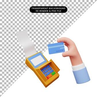 Edc 기계가 있는 신용 카드를 가진 손의 3d 그림