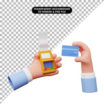 신용 카드로 edc 기계를 가지고 있는 손의 3d 그림
