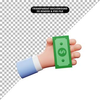 お金を持っている手の3dイラスト