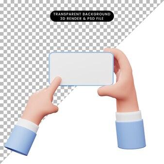3d иллюстрации руки со смартфоном и указывая