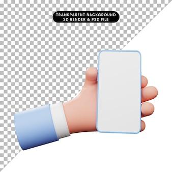 3d иллюстрации руки, имеющей смартфон