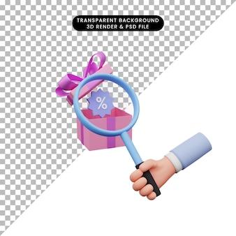 コロナウイルスに拡大鏡を持っている手の3dイラスト