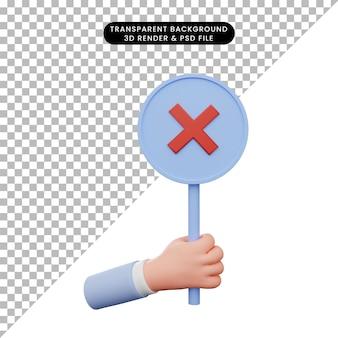 3d иллюстрации руки, держащей крестик