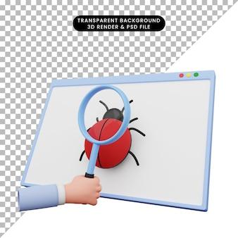 손 잡고 웹에 버그에 돋보기의 3d 그림