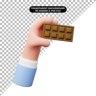 チョコレートと手の3dイラスト