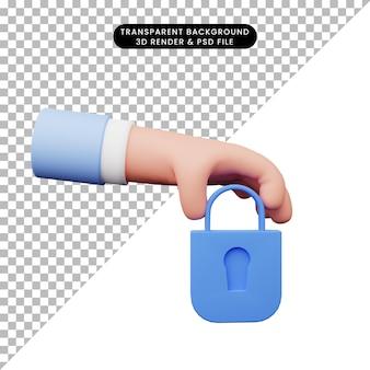 자물쇠와 손의 3d 그림