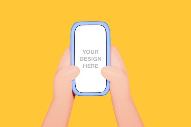 Иллюстрация 3d рук держа телефон пока пишущ текст или сообщение