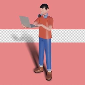3d иллюстрации счастливого фрилансера с компьютером дома