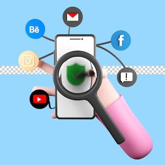 내부에 많은 앱이 있는 스마트 폰을 들고 있는 3d 그림. psd 프리미엄