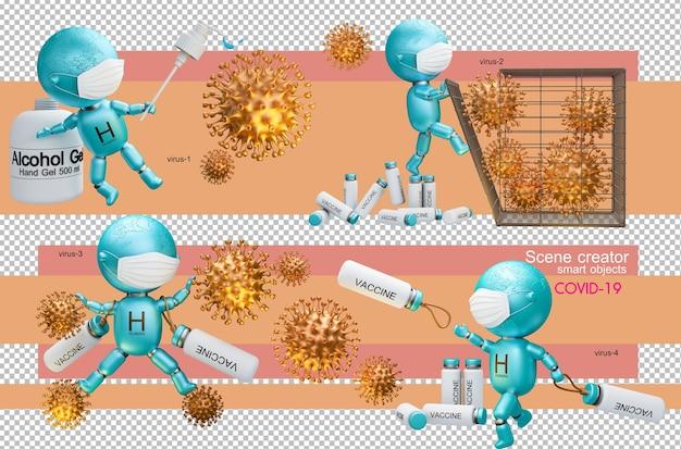코로나 바이러스와 싸우는 인간의 3d 일러스트