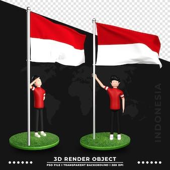 귀여운 사람들이 만화 캐릭터와 함께 인도네시아 국기의 3d 그림. 3d 렌더링.