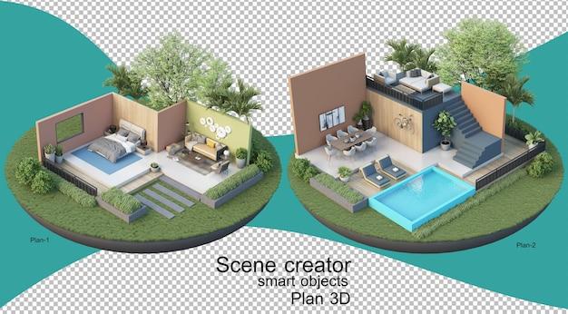 建物と住居のインテリアプランの3dイラスト