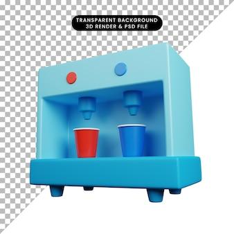 カップ付き調理器具ディスペンサーを飲む台所用品の3dイラスト