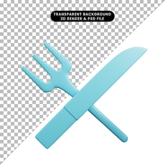 台所用品のフォークとナイフの3dイラスト