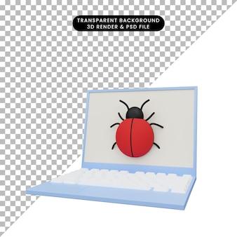 バグのあるラップトップの3dイラスト
