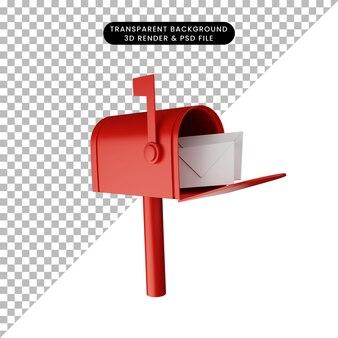 3d иллюстрации почтового ящика с письмом