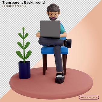 3d иллюстрации человека с ноутбуком, сидящего в кресле