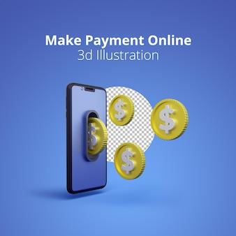 3d иллюстрации мобильного телефона с концепцией онлайн-платежей на синем фоне