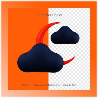 할로윈 데이 개념으로 달과 구름의 3d 그림