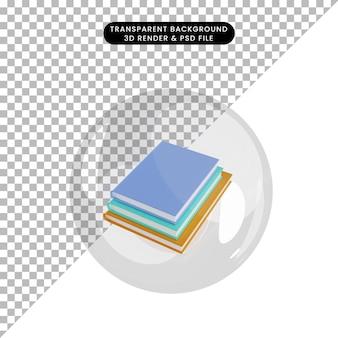 3d иллюстрации объектной книги внутри пузырей