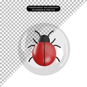거품 내부 개체 버그의 3d 그림
