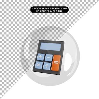 3d иллюстрации калькулятора объектов внутри пузырей