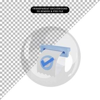 거품 내부 개체 체크리스트 송장의 3d 그림