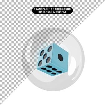泡の中のオブジェクトのサイコロの3dイラスト