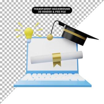 온라인 교육의 3d 일러스트