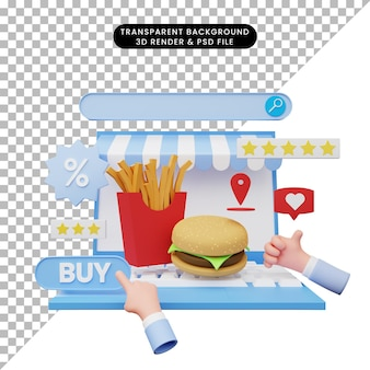 노트북에 온라인 상점의 3d 그림