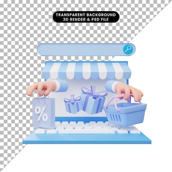 ノートパソコンのオンラインショップの3dイラスト