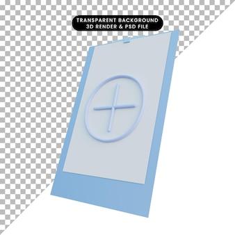プラスアイコン付きのボード上の紙の3dイラスト